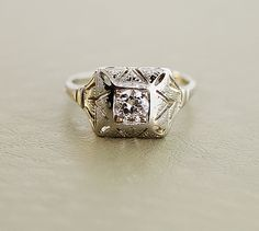 1920s  Deco Engagement Ring  18k White Gold and by SITFineJewelry, $2,875.00