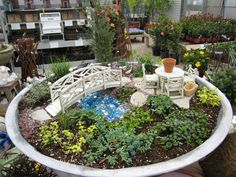 Add a fairy flair to your garden area. In the bowl of a bird bath, or flower pot saucer, under a tree, on the seat of an old chair, a terrarium, or inside dead wood.