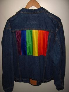 2138cfbb08d4fe Details about Gay Pride Denim Jacket - 1990 s Bruno Bellini LGBT Rainbow  Flat Blue Jean Large