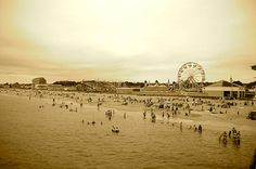 This is the view of Old Orchard Beach in Maine and its amusement park taken from the overlooking pier. (Photo credit: Jenni Hypes)