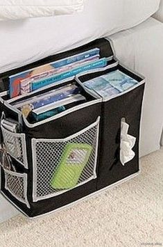 6 Pocket Bedside Storage Mattress Book Remote Caddy Equipped with 3 deep pockets and 3 mesh pockets to hold it all! With heavy weight 600 Denier Polyester it is plenty durable to be your bedside organizer Dimensions: h x w x d Bedside Caddy, Bedside Organizer, Bedside Storage, Storage Caddy, Bed Caddy, Bed Storage, Extra Storage, Pocket Organizer, Hanging Organizer