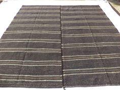 "Square Rug,Stripe Large Oversize Kilim Rug,9,7""x10"" Feet 293x306 Cm Stripe Patten Goat Hair Woven Turkish Kilim Rug,Large 10x10 Rug."