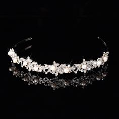 Find More Hair Jewelry Information about fashion bridal wedding ornament leaf hair hairbands accessories shiny pearl round bead crystal silver plated plain bijoux F011,High Quality flowers dots,China accessories clothes Suppliers, Cheap accessories com from Haihang Trade Co.,Ltd on Aliexpress.com