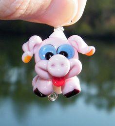 Samantha Beads Lampwork Pig Pendant by SamanthaBeads on Etsy