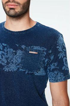 Knitted-T-Shirt-Denim-with-Print-Detail-- Denim, T Shirt, Knitted T Shirt, Block Prints, Tee Shirt, Jeans Pants, Tee