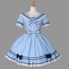gothic lolita sailor dresss blue sweet lolita by Kawaii Fashion, Lolita Fashion, Cute Fashion, Girl Fashion, Fashion Outfits, Rock Fashion, Fashion Boots, Mode Lolita, Lolita Goth