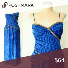 """Vintage 80s Fortuny Pleat Sapphire Cocktail Dress Incredible vintage 80s SAPPHIRE BLUE Fortuny Pleated Beaded Cocktail Dress. Sweetheart neckline, tiny spaghetti straps, silky fortuny pleats, and glass beaded trim on the boned bodice in gold beading with a little color bead in the center. Zipper closure and 12"""" slit in back, lettuce-ruffled hem. Made of a silky, luxe poly. Excellent condition.?  Fit for an xs/sm: 34"""" bust 28"""" waist free hip 51"""" length  Fast shipping! Vintage Dresses"""