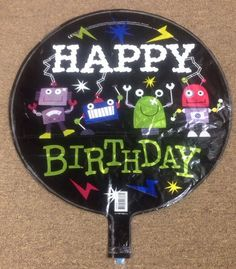 "Robot Happy Birthday Mylar Foil Balloon Party Decoration 17"" - Design Both Sides #Qualatex"