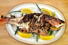 Grilled Whole Red Snapper with Lemon, Garlic and Herbs
