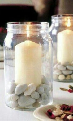 Table decoration for the summer late summer candlestick in jam jar pebbles - Trend Garden Decoration Candle Jars, Mason Jars, Jam Jar Candles, Mason Jar Candle Holders, Glass Jars, Wow Products, Candlesticks, Diy Home Decor, Buenas Ideas