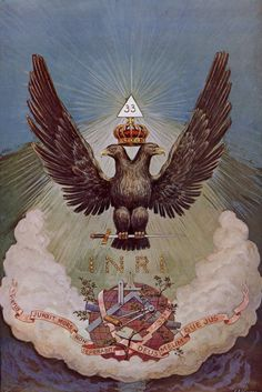 "According to Manly P. Hall, the double-headed eagle represented, ""...the Master of the double Holy Empire of the superior and the inferior universes. The ancient emblem of equilibrium consisted of an androgynous body surmounted by two heads, one male and the other female, wearing a single imperial crown. That being alone is perfect in which all opposites are reconciled, and this state of perfection is appropriately typified by the two heads of equal dignity. Hence the double-headed eagle is…"