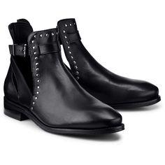 Diese schwarze Leder-Stiefelette von Cox ist ein Must-have für alle Fashion-Queens! Die seitlichen Cut-Outs in Kombination mit dem Nietenbesatz sorgen für ein trendiges Design.