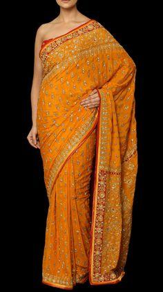 Gauri Yellow Embroidered Sari - Saris