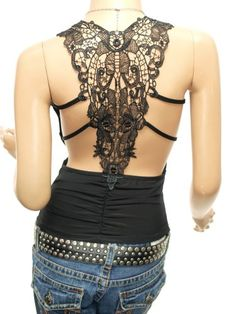lace back strappy T