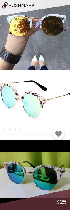 Round mirrored marble sunglasses 😎 Wonderful round marble mirrored sunglasses. Comes with glasses, case, screwdriver, vip card, cleaning cloth, instructions, and security signs. This is such a good deal!! Similar to quay Australia Accessories Sunglasses