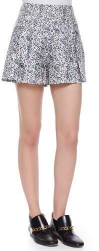 Derek Lam 10 Crosby Floral-Print Shorts W/ Saddle Studs