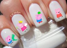 44 Peppa Pig Nail Decals by AMnails on Etsy
