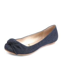 Chambray Twisted Bow Flat: Charlotte Russe