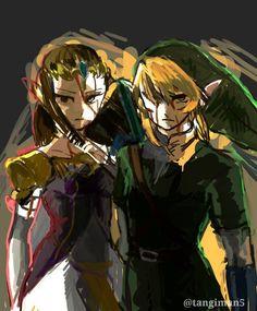 LoZ: Twilight Princess ~ Link and Zelda (By 宿命 / @tangiman_)