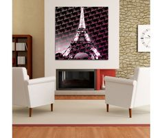 Eiffel tower with repeat Pink Paris wording.