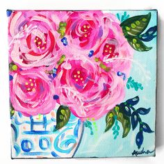 Items similar to Floral Chinoiserie Abstract Pop Art Painting / Ginger Jar Flower Art / inch Original Art on Canvas / Acrylic / Audra Sampson / Pink on Etsy Ginger Jars, Chinoiserie, Flower Art, Pop Art, Original Art, Abstract Art, Canvas Art, My Etsy Shop, The Originals