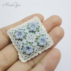 Miniature crochet pillow cream with blue roses, dollhouse cushion, 1:12 Dollhouse miniature, dollhouse pillow, 84
