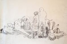 "Linn Sundqvist ""Wrestling with Dog"" Pencil on paper"