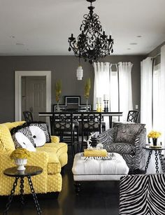 Renae Moore Designs: Gray and Yellow Decor