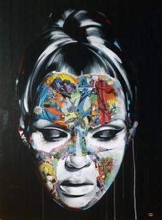 Super Hero Canvas by Sandra Chevrier Superman, Batman, Collage Portrait, Portraits, Montreal, Sandra Chevrier, Gcse Art, Ink Painting, Female Art