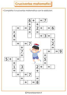 Krzyżówka mathematyczna z dodawaniem i odejmowaniem PianetaBambini. First Grade Math Worksheets, Kindergarten Math Activities, Preschool Printables, 1st Grade Math, Homeschool Math, Math For Kids, Fun Math, Math Lessons, Kids Education