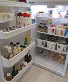 Organized fridge ~ Use baskets inside the fridge...  now I know what to use those baskets for from the dollar store