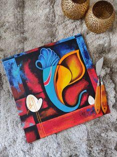 Small Canvas Paintings, Mini Canvas Art, Indian Art Paintings, Buddha Painting, Buddha Art, Mural Painting, Lord Ganesha Paintings, Ganesha Art, Oil Pastel Art