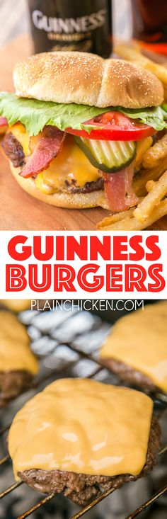 Guinness Burgers - simply THE BEST! Can make ahead of time and freezer for later. I dont like beer but these burgers were DELICIOUS! A new favorite! Beer Recipes, Pork Recipes, Dinner Recipes, Cooking Recipes, Guinness Recipes, Sandwich Recipes, Grilling Recipes, Recipies, Hamburgers
