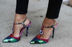 eyeball sequin heels