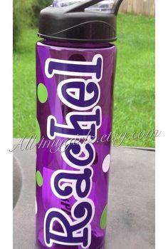 Personalized Water Bottle 24 oz BPA-FREE Shatter Resistant flip flops summer Cheer Dance Soccer Football Baseball