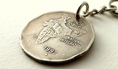 India Coin keychain Coin charm Mens accessory Hindu by CoinStories