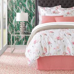 Pretty in pink, elegant and serene, our free-spirited flamingos lift your bed to new heights. Crisp, cool cotton with an all over digital print of watercolor-rendered standing and feeding birds on a soft white ground, our duvet cover and matching sham will bring a tropical touch to your bedroom. Coordinate with our C3 Bedding for a beautifully pulled together space.