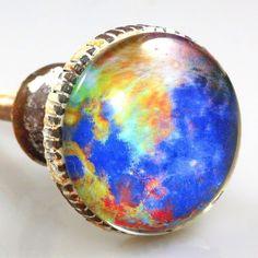 Retro Whitewashed Metal with Glass Inlay Knob – Planet