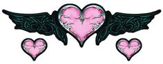 Decorate your car with pink heart wings decal sticker. Cute Heart Drawings, Camo Tattoo, Rebel Flag Tattoos, Skull Silhouette, Halloween Acrylic Nails, Heart With Wings, Heart Pictures, Biker Chic, Pink Iphone