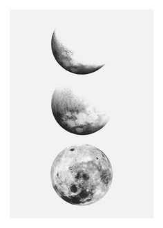 Black and white prints with photos of moon