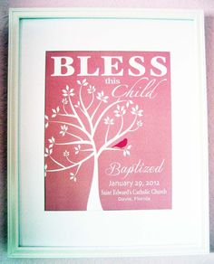 Christening Gift Baptism Gift Baby Girl Personalized Print Wall Art- Available in other colors. $15.00, via Etsy.