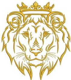 lion in the crown - Machine Embroidery Design - tested Lion Tattoo With Crown, Lion Head Tattoos, Janome Embroidery Machine, Machine Embroidery Designs, Crown Painting, Cross Stitch Tattoo, V Logo Design, Lion Images, Tattoo Lettering Fonts