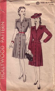 Hollywood 1387; ca. 1944; One-Piece Dress. Buttons from neck to hem at center-front. Skirt has pleats at side-fronts and a panelled back and joins the blouse under belt. Two patch pockets. Blouses gathered at shoulder yokes, front and back. Notched collar. Long sleeves gathered to cuff-bands and short sleeves.