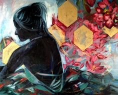 """'A Love That Blossomed in Spring' by Emily Venturino   $250   30""""W x 24""""H x 1""""D   Original Art   http://vng.io/l/4gTB2IU01u @VangoArt"""