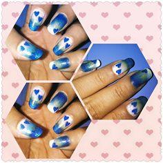Blue hearts nail art