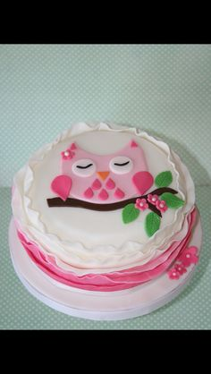 Girly Pink Owl Decorated Cookies and Number by peapodscookies