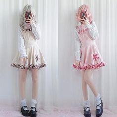 ecdb7311f3eda Brown Pink Plaid Student Strap Lolita Dress S13053 · Kawaii DressCute  FashionKawaii ...