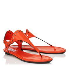 Dara Pop Orange Vanchetta Leather Sandals | Dara | Spring Summer 17 | JIMMY CHOO