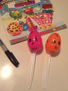 Shopkins Birthday Party Game: Gooey Egg Relay. Plastic spoons, Easter eggs and a sharpie. Cheap and easy birthday game.