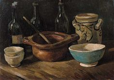 Still Life with Earthenware and Bottles, 1885 Vincent van Gogh (1853-1890) In 1884 Van Gogh worked briefly as a teacher in Eindhoven, where he gave painting lessons to a small number of amateur painters. He had them make still lives, simultaneously experimenting with the genre himself, and devoting particular attention to the reciprocal effect of the colors. Oil on Canvas, 39.5 X 56 cm Van Gogh Museum, Amsterdam